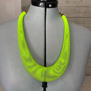 Chico's Neon Green Metal Coil Slinky Necklace